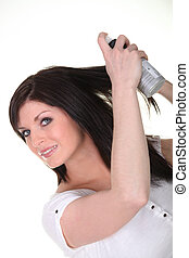 produit, femme, elle, beauté, cheveux, pulvérisation