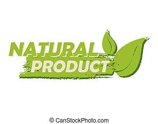 produit, feuille, signe, naturel, étiquette, vert, dessiné