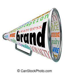 produit, fidélité marque, publicité, porte voix, conscience, construire