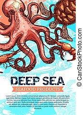 produit, fruits mer, croquis, profond, peche, mer, bannière