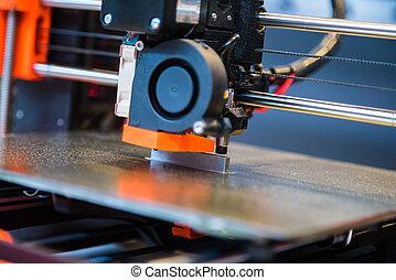 produit, imprimante, additif, automatique, moderne, trois, creation., automation, dimensionnel, impression, exécute, robotique, fabrication, technologie, ou, 3d