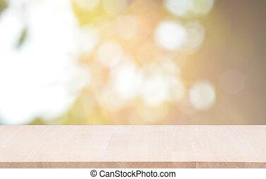 produit, lumière, sommet, montage., bokeh, bois, arrière-plan vert, table, exposer