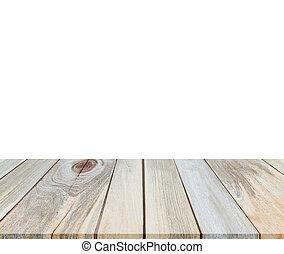produit, montages, sommet, isolé, bois, fond, table, blanc, exposer, vide