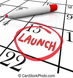 produit, mot, lancement, début, entouré, nouveau, calendrier