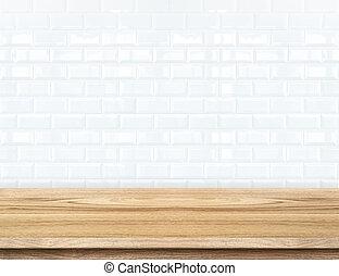 produit, mur, céramique, exposer, arrière-plan., bois, carreau, table, brique, template., vide