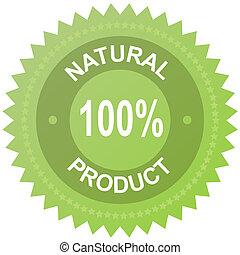 produit, naturel, 100%, -, étiquette, vecteur