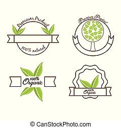 produit, naturel, nourriture, étiquette, organique, prime