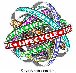 produit, processus, ventes, illustration, pattes, durée vie, lifecycle, 3d