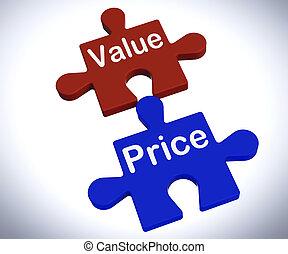 produit, puzzle, valeur, valeur, cout, coût, spectacles