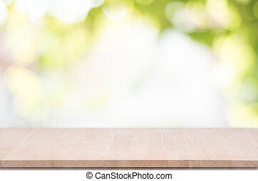 produit, sommet, montage., bokeh, bois, arrière-plan vert, table, exposer