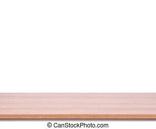 produit, sommet, montage., isolé, arrière-plan., bois, table, blanc, exposer, vide