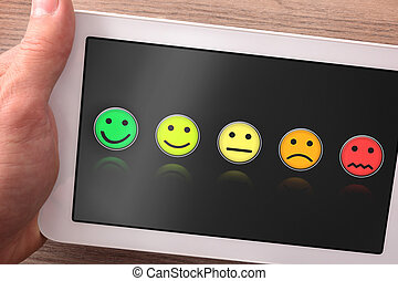 produit, tablette, service, satisfaction, évaluation, ou