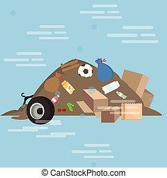 produit, yard, déchets, jonque, illustration, vecteur, tas, sale, gaspillage, dessin animé