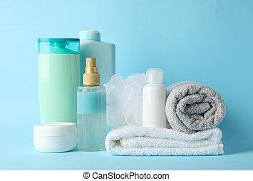 produits, bleu, hygiène, corps, soin personnel, arrière-plan.