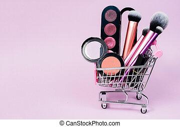 produits de beauté, buyer., chariot, magasins, concept, oeil, escomptes, rouge lèvres, rose, rougir, maquillage, divers, ligne, décoratif, achats, ombre, brosses