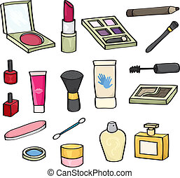 produits de beauté, dessin animé, ensemble