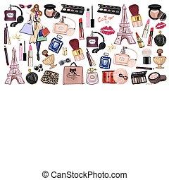 produits de beauté, ensemble, dessiné, accessoires, main