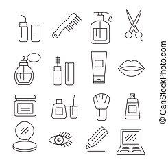 produits de beauté, ligne, icônes