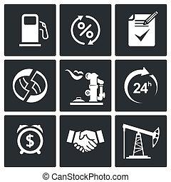 produits, ensemble, pétrole, vente, icône