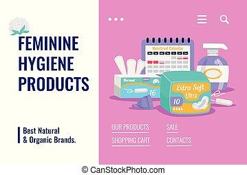 produits, hygiène, bannière, féminin