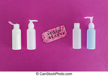 produits, message, beauté, étiquette, vegan, moisturizers, non, toner, concept, lotions, groupe, les, essai, animal, suivant