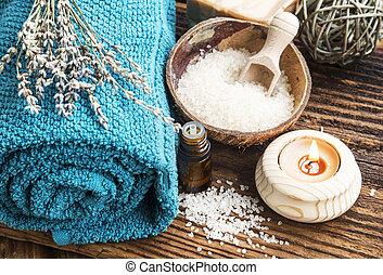 produits, naturel, fond, bois, spa