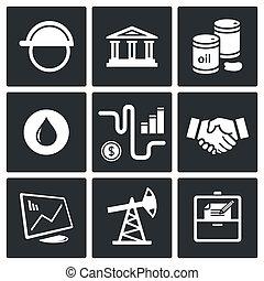 produits, pétrole, vente, collection, icône