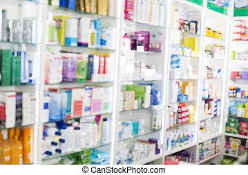 produits, pharmacie, affiché, étagères