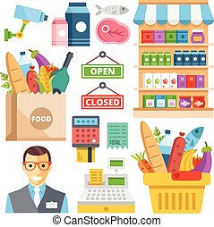 produits, supermarché, équipement