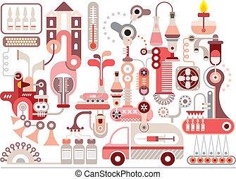 produkcja, laboratorium, praca badawcza, farmaceutyczny