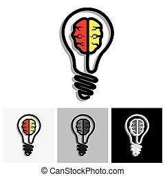 produkcja, pojęcie, rozłączenie, twórczość, idea, wektor, problem, ikona