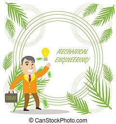 produkcja, showcasing, korzystać, handlowy, konceptualny, solution., fotografia, pokaz, mechaniczny, rodząc, idea, pisanie, dyle, pomyślny, projektować, engineering., odkrycie, biznesmen, ręka, albo, maszyny