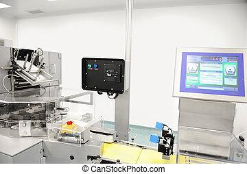 produkcyjna lina, nowoczesny, fabryka, zautomatyzowany