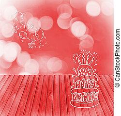 Produkt, din, bakgrund, Trä, Vaxljus,  Montage, underteckna, topp, Födelsedag, Tårta, klar, bord, lycklig, röja, tom, röd