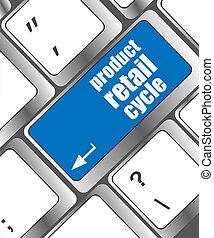 produkt, einzelhandel, zyklus, tastatur, schlüssel, ort, von, enter-taste