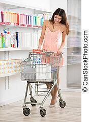 PRODUKT, frau, Kaufen, Supermarkt, schoenheit