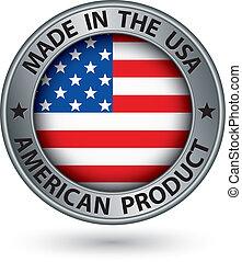 produkt, gjord, usa sjunker, illustration, etikett, amerikan, vektor, silver