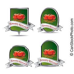 produkt, (ketchup, sauce), etikett