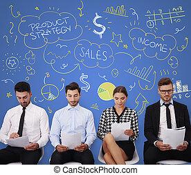 produkt, leute, junger, strategie, arbeitete, heraus