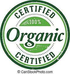 produkt, organisk, auktoriserad revisor, stämpel