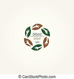 produkt, organisk, restaurang, mat, logo., logo