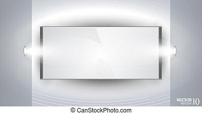 produkt, panel, fört, spotlights, utställningslokal