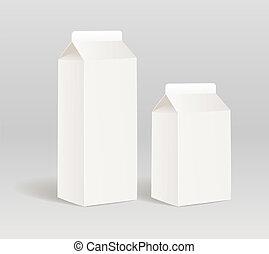 produkt, papier, behälter, milch