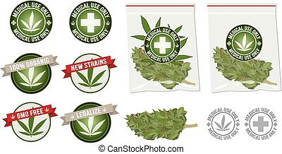 produkt, vektor, marihuanaarzneimittel, etikett