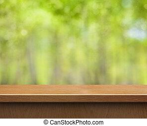 produkt, verwischt, holz, grüner hintergrund, tisch,...