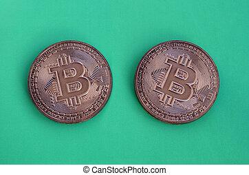 produkte, essbare , währung, plastik, crypto, lie, form, bitcoins, physisch, hintergrund., grün, kakau, zwei, modell