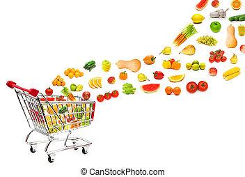 produkter mad, flyve, ydre, i, shopping cart