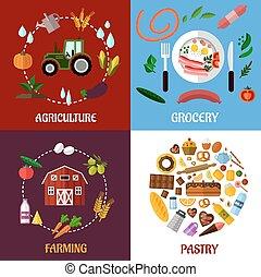 produkter, skapande, infographics, design, mat, begrepp, lägenhet