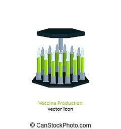 produktion, impfstoff, ikone