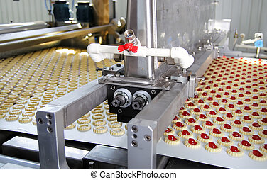 produktion, kaka, in, fabrik